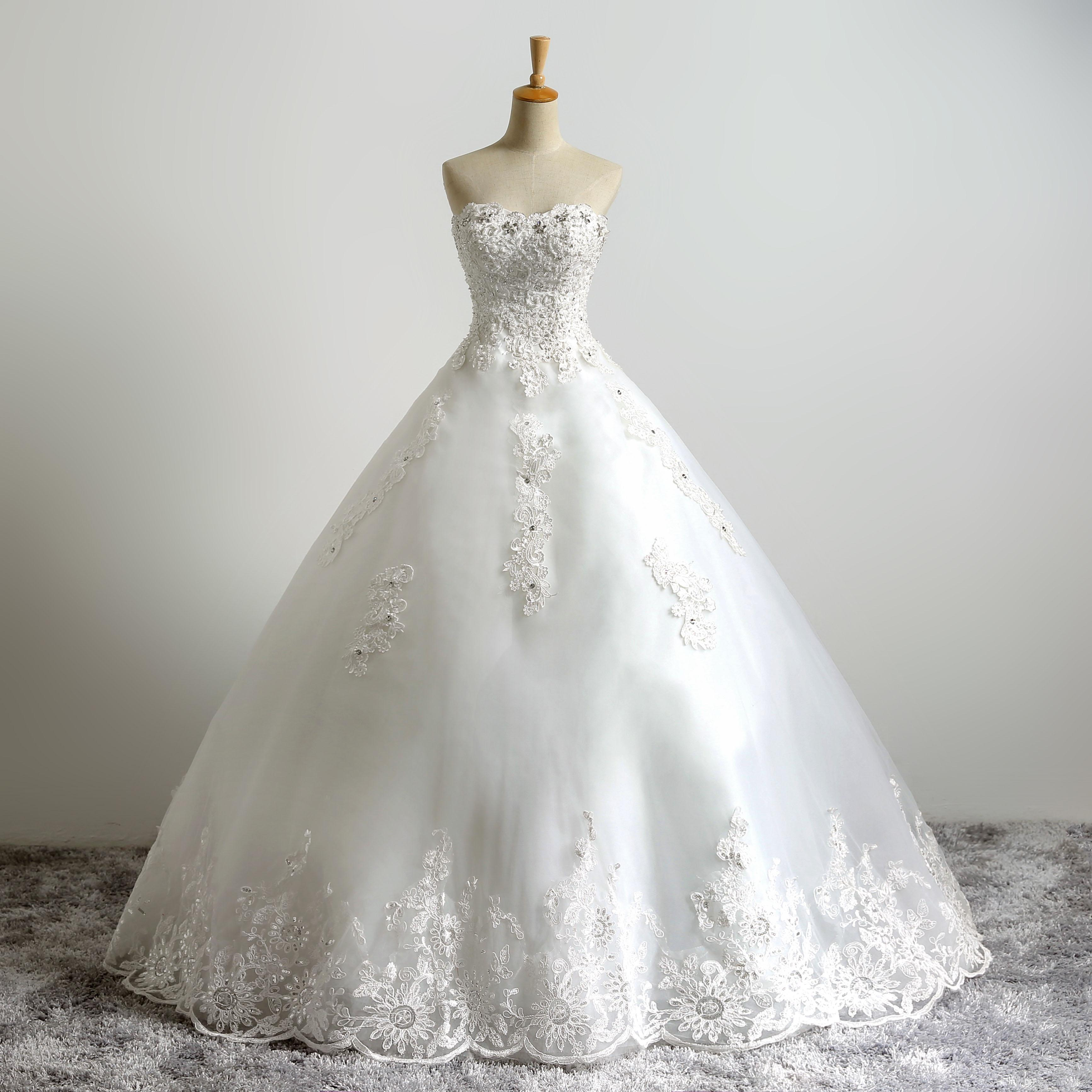 Sweetheart Strapless A-line Crystal Lace Applique Vestidos De Noiva Fancy Beaded Top Lace Bridal Ball Gowns Wedding Dress Ivory as Picture
