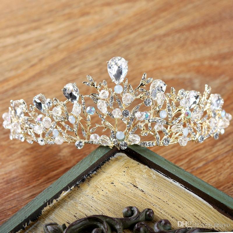 Barokowa panna młoda Kryształ, Handmade Bridal Headdress, Factory Direct Selling, ze złotymi i srebrnymi kolorami, bardzo piękne
