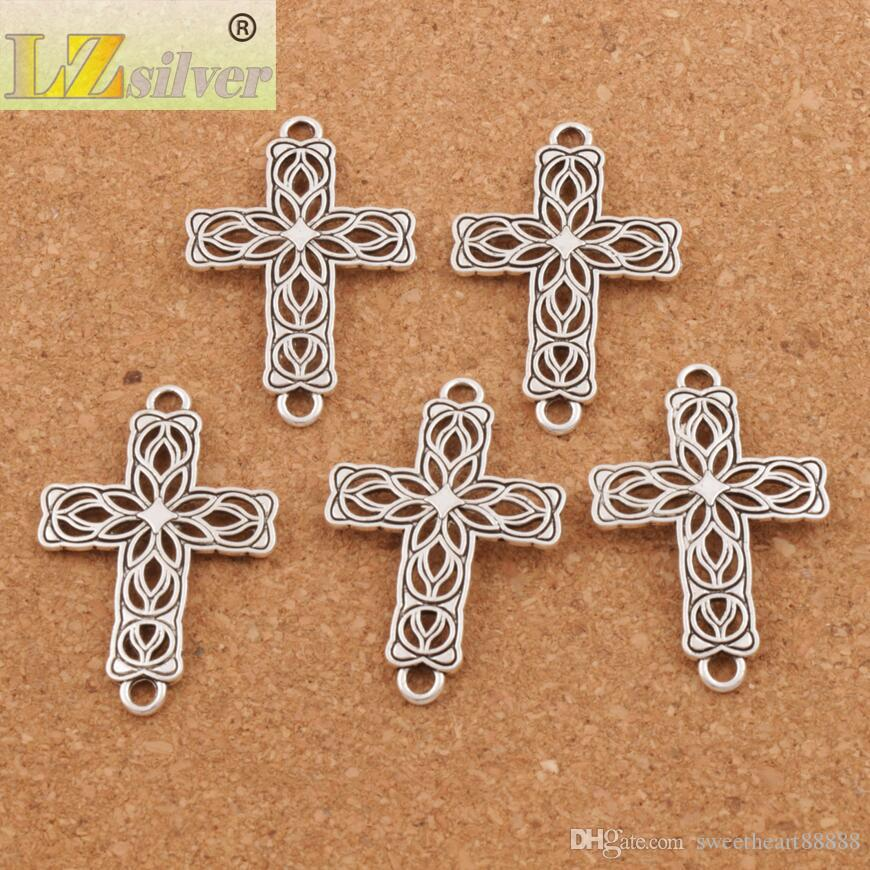 Open Flower Cross 2-Hole Connector Tibetan Silver Fit Infinity Leather Bracelets Jewelry DIY L1209 27.5x42mm