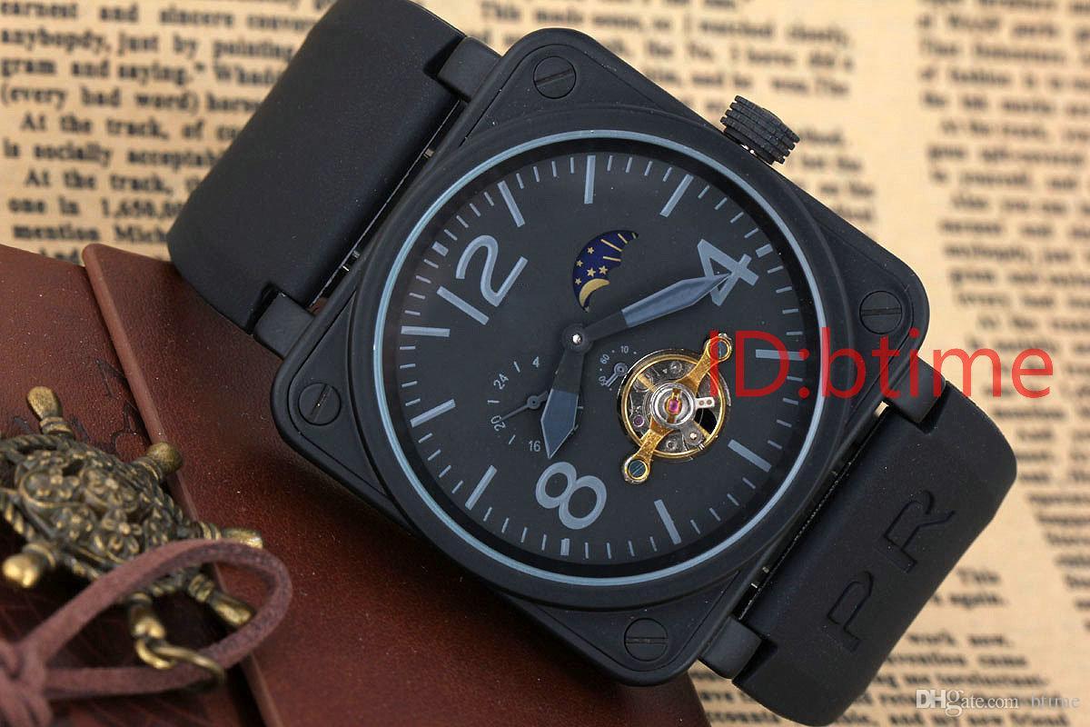 새로운 남성 스테인레스 스틸 블랙 고무 벨 PVD BR 자동 기계 자동 바람 시계 해골 피어싱 빈의 뚜르 비옹 시계