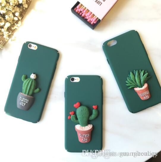 sports shoes 4f0da e3bce For iphone 7 Plus Case 3D Cactus TPU Silicon Kawaii Matte Full Cover for  iphone7 6 6s plus 6plus 5 5s se Phone Cases factory price