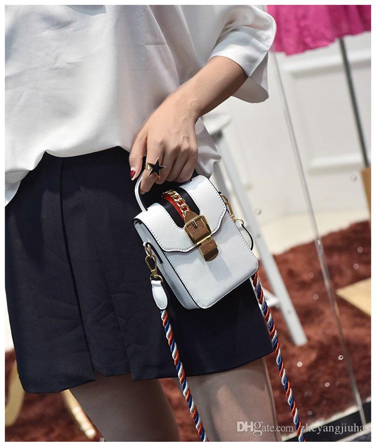 New high quality designer chain lock single shoulder messenger bag women fashion phone purse lady casual handbag black/white color no251