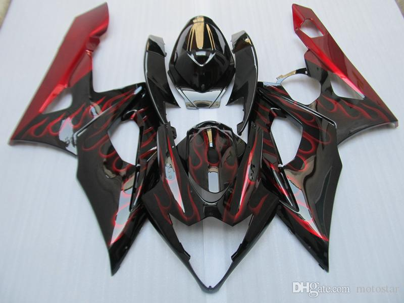 New hot injection molded fairings for Suzuki GSXR1000 2005 2006 red flames black fairing kit GSXR1000 05 06 OT72