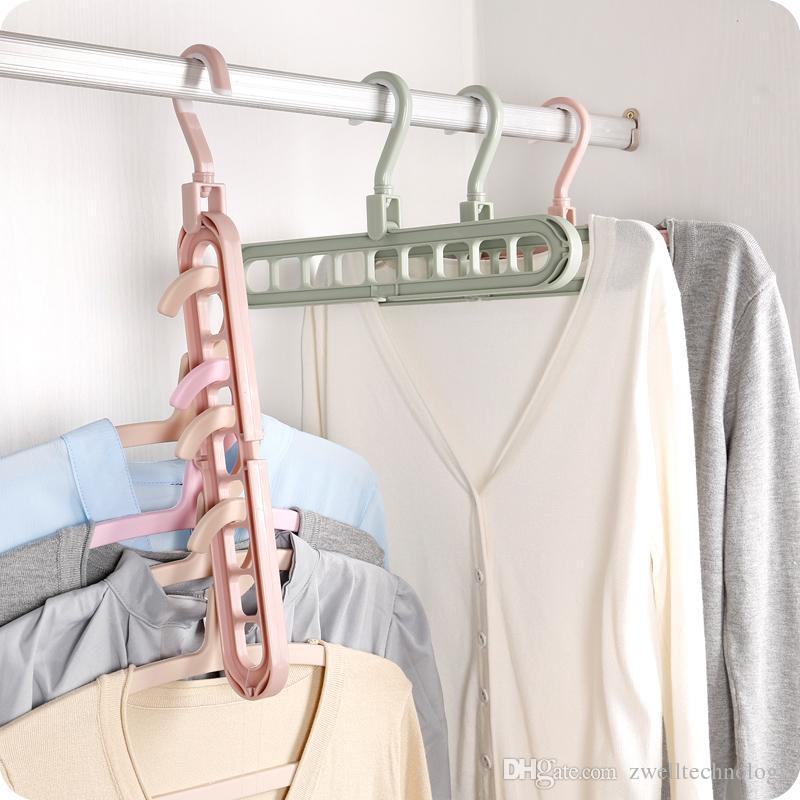 Multi-functional Anti-slip Clothing Hanger Cloth Storage Hanger Rack Household Foldable Space Saving Wardrobe Cloth Clip Laundry Product