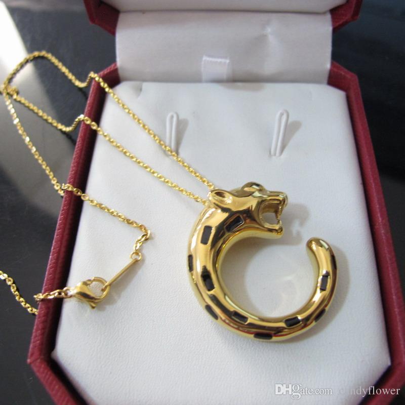 Классические европейские и американские модные кулоны с леопардовыми вставками из меди. Дизайнерские украшения из 18-каратного желтого золота для женщин или мужчин.