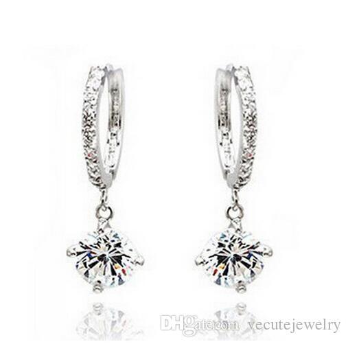 Or argent plaqué cristal Clip sur boucles d'oreilles pour femmes faites avec Swarovski Elements bijoux de mariée cercle Hoop Dangle boucles d'oreilles joli cadeau