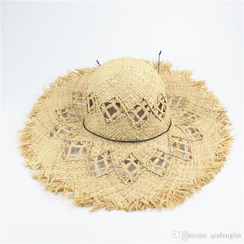 2d3208693d2 2017 Summer Beach Women Fedora Cap Wide Brim Vacation Floppy Straw Sun Hat  46cm Hand Made Straw Hat Raffia Wide Brim Hats Online with  10.93 Piece on  ...