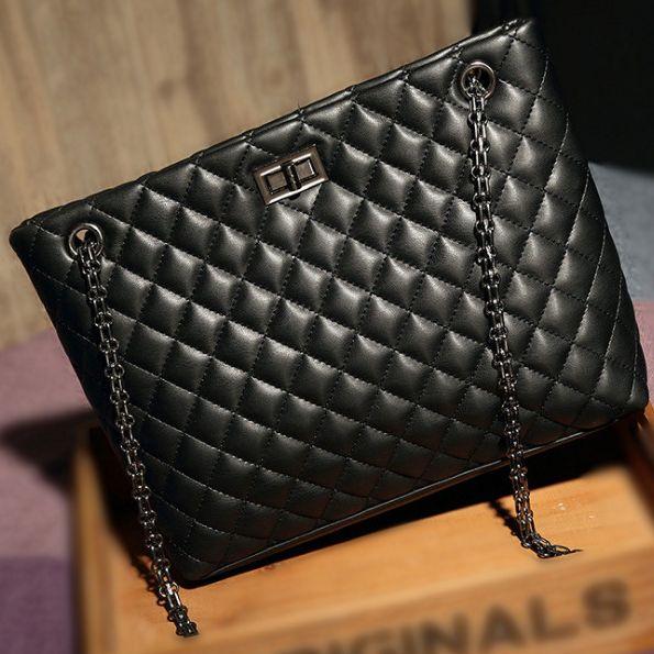 53a2d05b8cb9c Black Plaid Quilted Leather Tote Diamond Lattice Satchel Handbag Purse  Fashion Women Chain Strap Ladies Shoulder Messenger Bag Leather Bags For Women  Womens ...