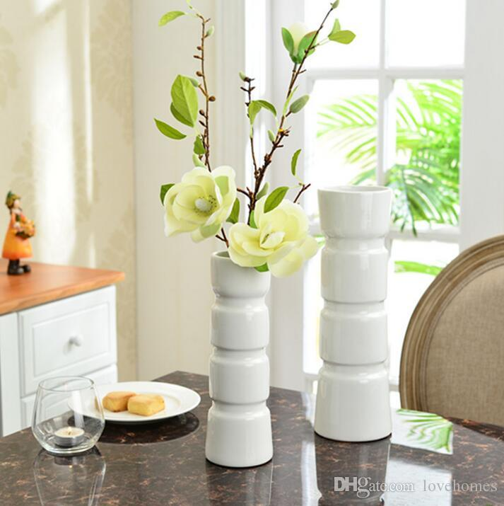 Modern Lucky Bamboo Shape Ceramic Vase For Home Decor Tabletop White Color  High 32cm Red Glass Vase Red Glass Vases From Lovehomes, $38.96| Dhgate.Com