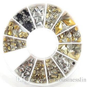 Nail Art strass dans la roue Nail Art Jewelry Diamonds Décoration d'ongle dans la roue Metal Material Accessories Etoiles, Rond, formes de coeur