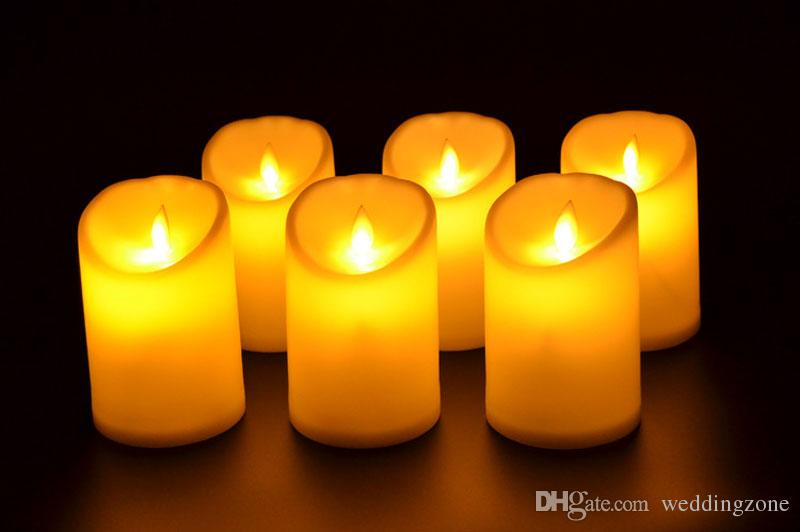 """3"""" * 4.5"""" Ivory Wax Flameless Moving Wick LED Candle For Wedding Bars Party Home Decoration with"""