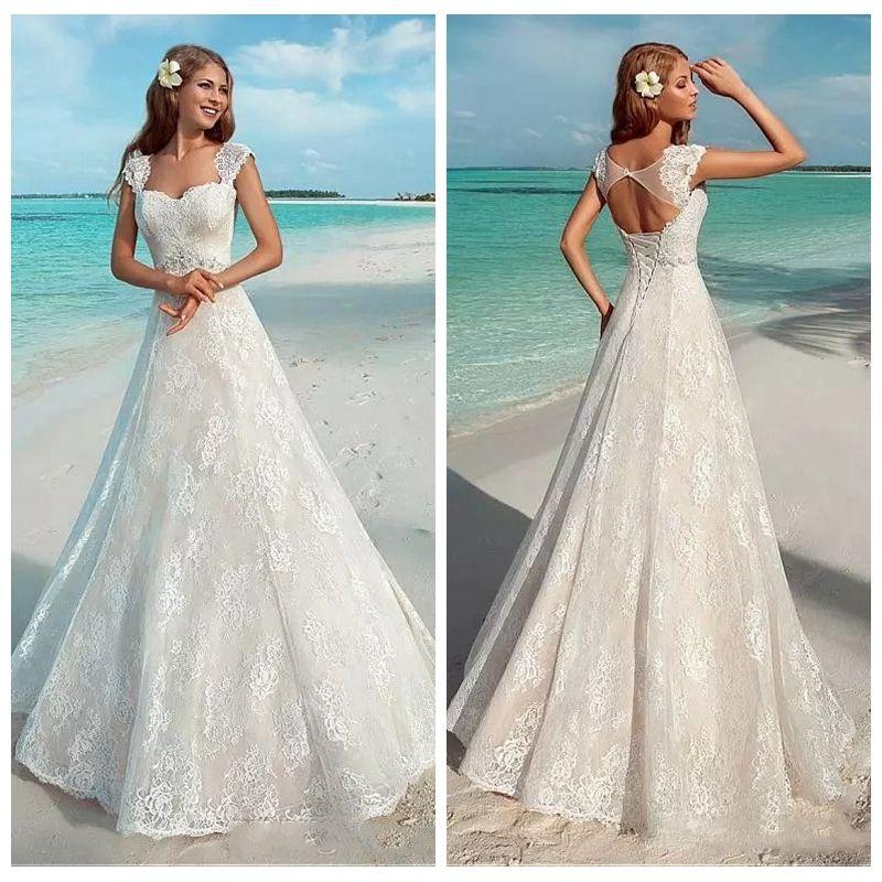 Discount 2018 Vintage Full Lace Elegant Summer Beach Wedding Dresses ...