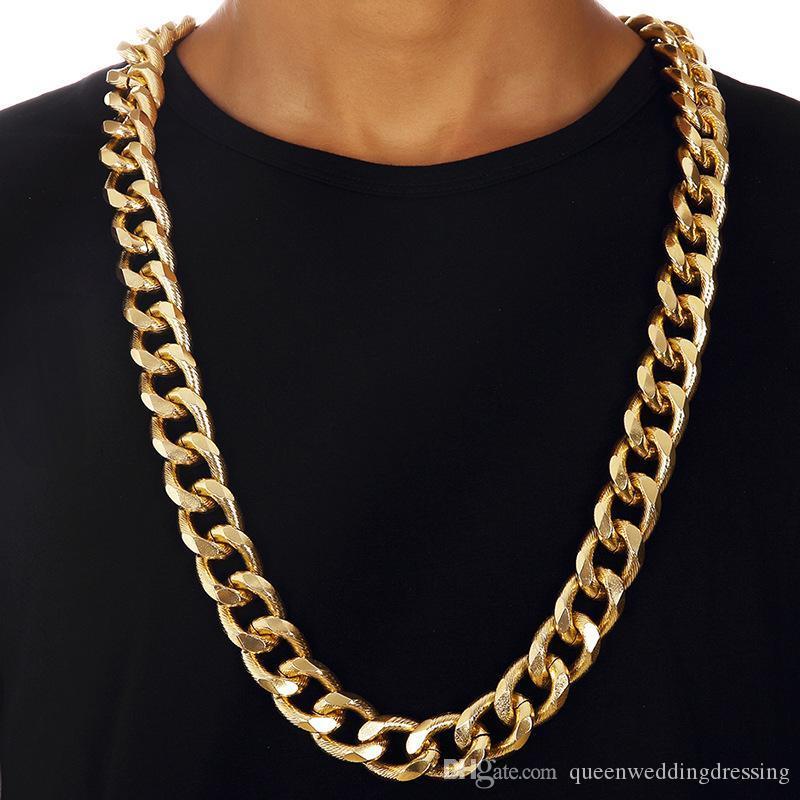 chunky men heavy big long l chain links necklace metal gold new