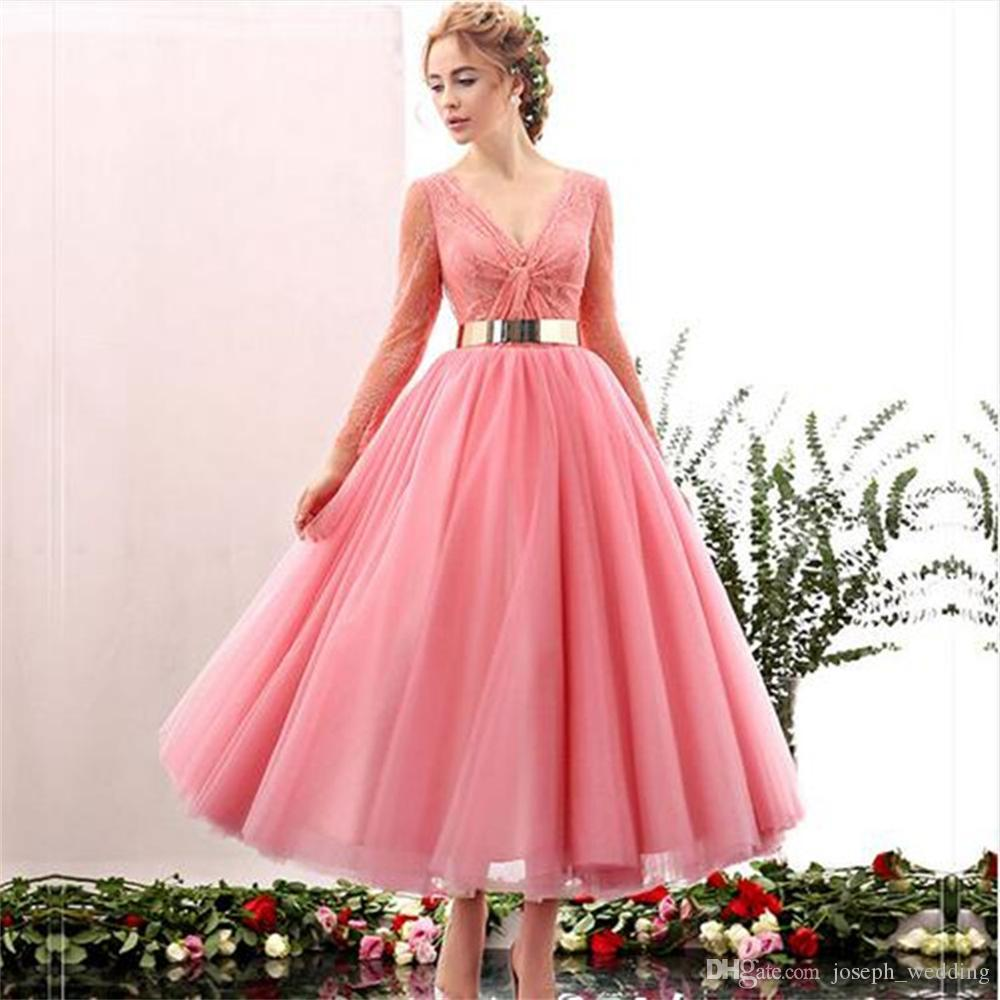 Real Samples New Arrivals Golden Sequined Sash Pink Tulle French Lace Ball Gown Evening Dresses with Long Sleeve Prom Dress 2017