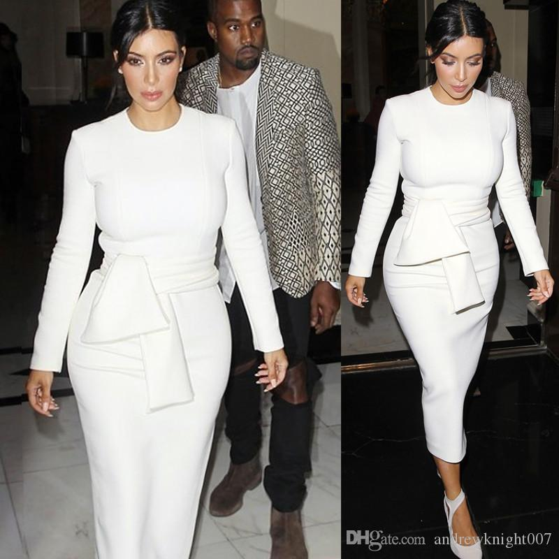Celebrity Dresses Kim Kardashian Dress White Long Sleeves Women Sexy Casual Maxi Spring Winter Dress Dkmf004 Free Shipping Dropshipping