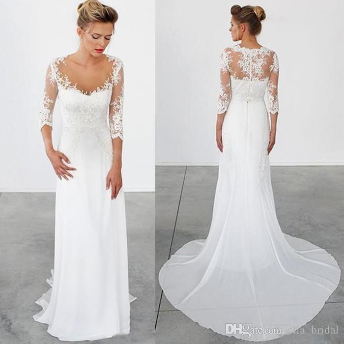 Discount High Quality Simple Beach Wedding Dresses 3 4 Long Sleeves Vintage Bohemian Sheath Chiffon Sheer Greek Bridal Dress With Lace Appliques Ivory