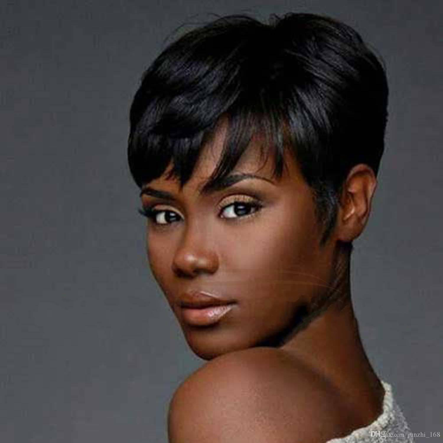 Synthetic Short Wigs For Black Women Pixie Cut Wig Short Black Hair ...