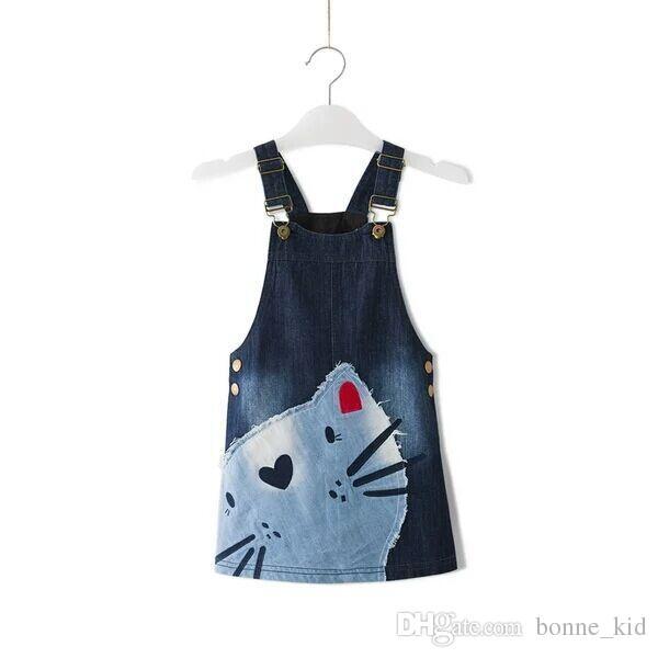 c338e279fd 2019 2017 Cute Kitten Baby Girl School Overalls Dress Denim Jeans Suspender  Pinafore Skirt Heart Nose Cat Kid Clothe 2 7T Wholes High Quality From  Bonne kid ...