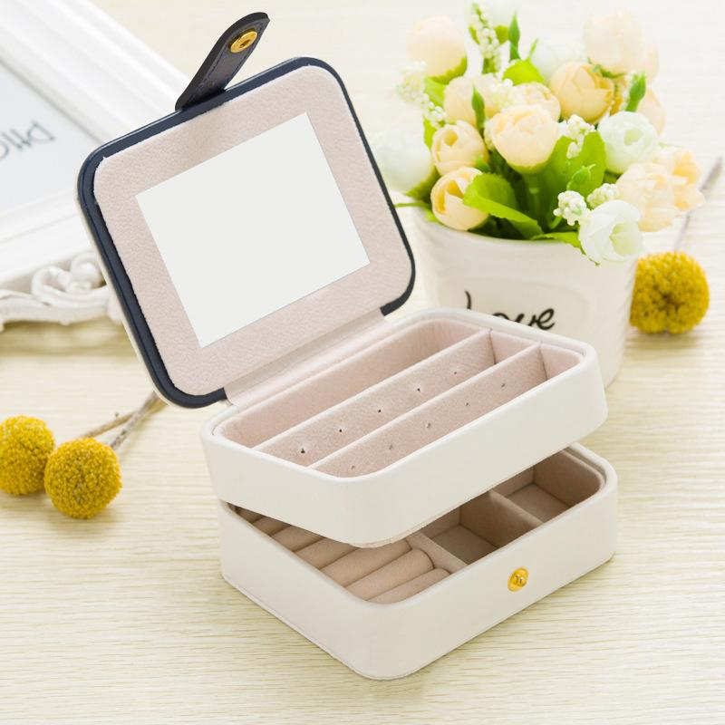 2018 Small Travel Jewelry Box 2 Layer High Quality Pu Jewelry