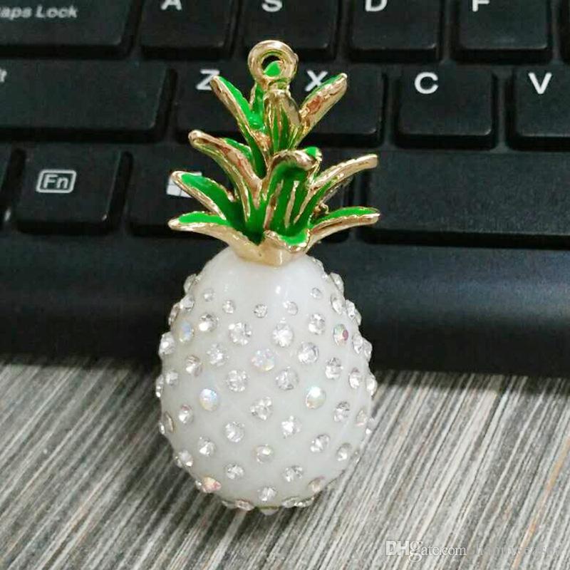 Abacaxi Bling Cristal Rhinestone Chaveiro Encantos Do Telefone Chaveiro Bolsa Pingente De Metal Chaveiro Presente