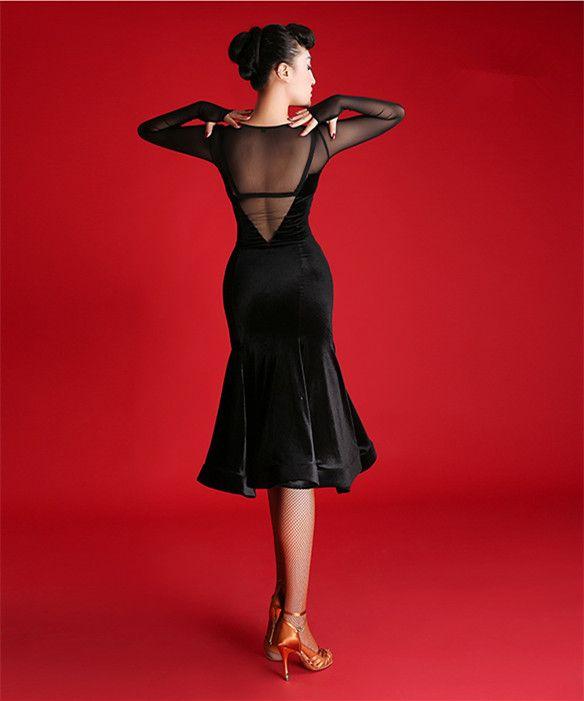 Schwarzer Erwachsener / Mädchen-lateinisches Tanz-Kleid Salsa Tango Chacha Ballsaal-Wettbewerb Tanz-Kleid-Maschen-nähendes sexy V-Kragen-langes Hülsen-Samt-Kleid