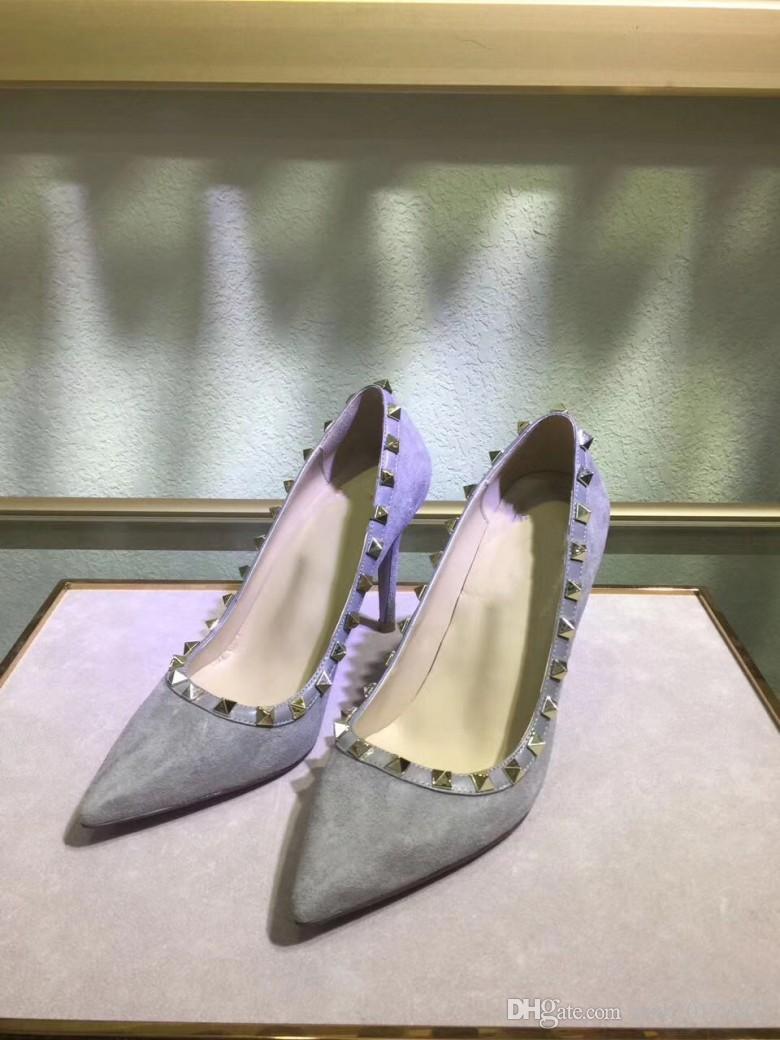 015.2017 Designer Frauen High Heels Party Mode Nieten Mädchen sexy spitze Schuhe Tanzschuhe Hochzeit Schuhe Doppel Riemen Sandale
