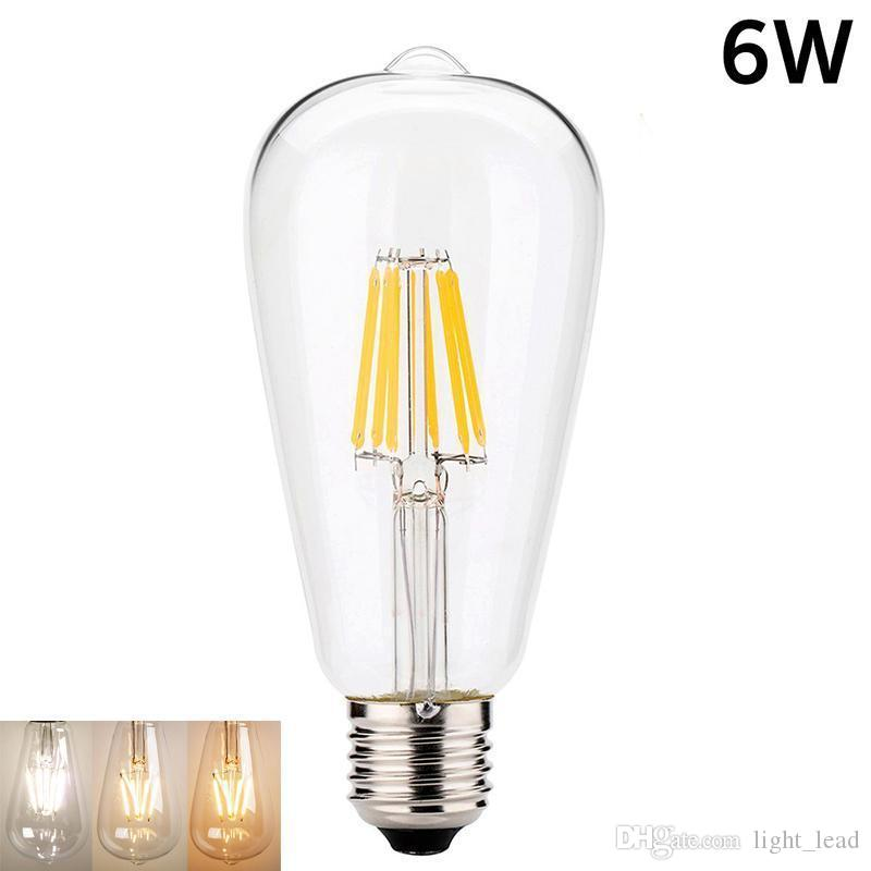 Regulável Retro LED filamento da lâmpada ST64 E27 2W 4W 6W 8W 110V No Flicker Substituir Edison Bulb IC inteligente Driver Energy Saving