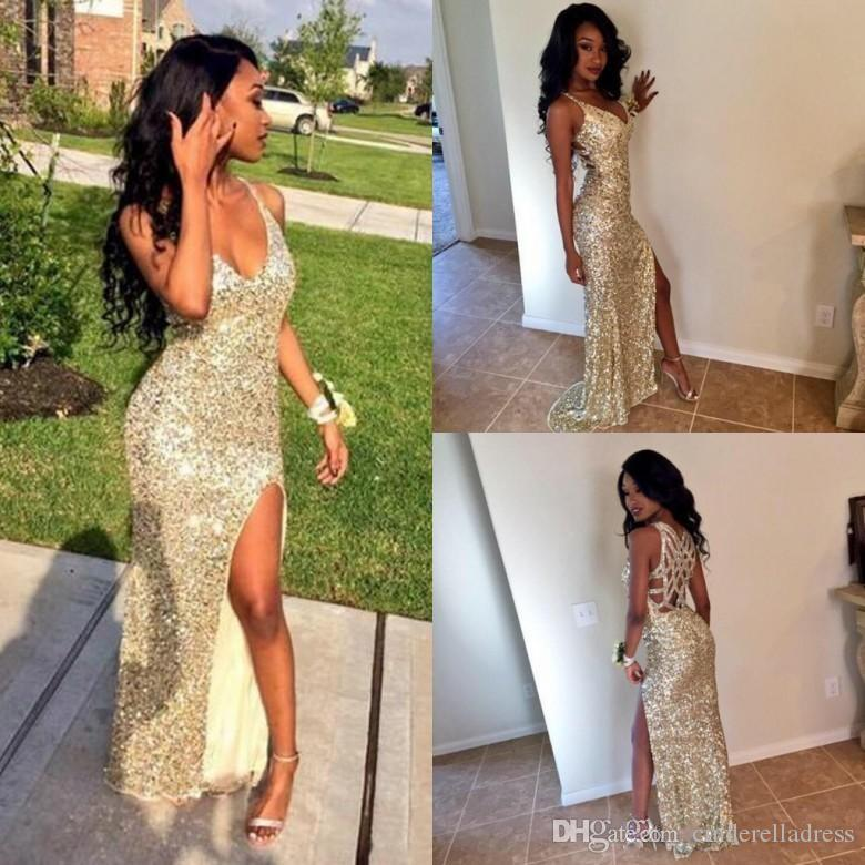 Sparkling Sequins Silver Gold Sexy Prom Party Dresses V Neck 2017 High Split Mermaid Backless Plus Size Cheap Graduate Gowns Eveing Wear