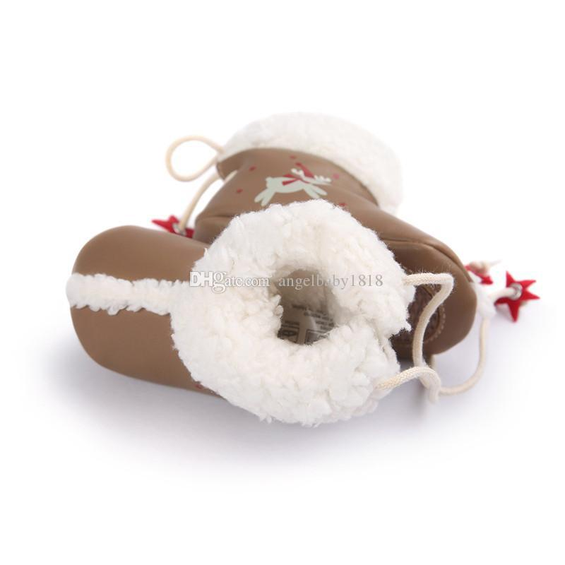 Newborn Baby Boys Girls PU Boots Christmas Deer Printed Stars Snow Boots Winter Warm Prewalker Soft Soled Back Lace-Up First Walker
