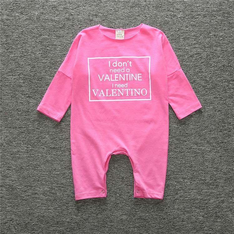 Baby romper INS little girls letter printed romper toddler kids dew shoulder long sleeve jumpsuits girl cotton autumn clothing T3542