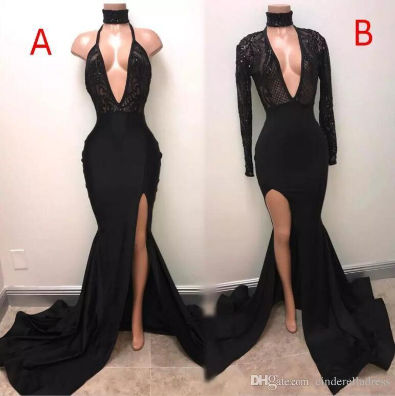 8fcdb8f2d1 2019 African Beach Black Sexy Mermaid Prom Dresses Deep V Neck Thigh High  Slit Long Evening Dresses Lace Appliqued Sequin Cheap Vintage Gown Pictures  Of ...