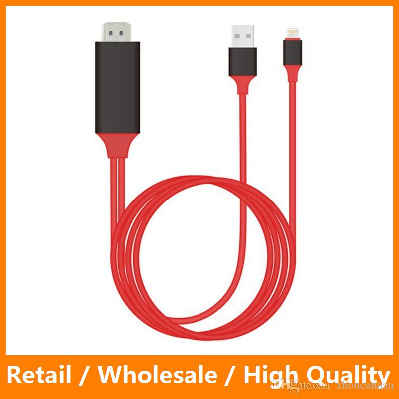 Red 2M HDMI Cable Adapter for IPhone 5 6 6s 6 Plus IPad IPod Screen ...