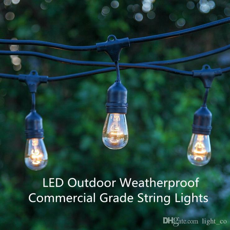 Led Outdoor String Light Weatherproof Commercial Grade Christmas Lights  With Hanging Sockets 15pcs Base 48 Foot String Lights Holiday Lights