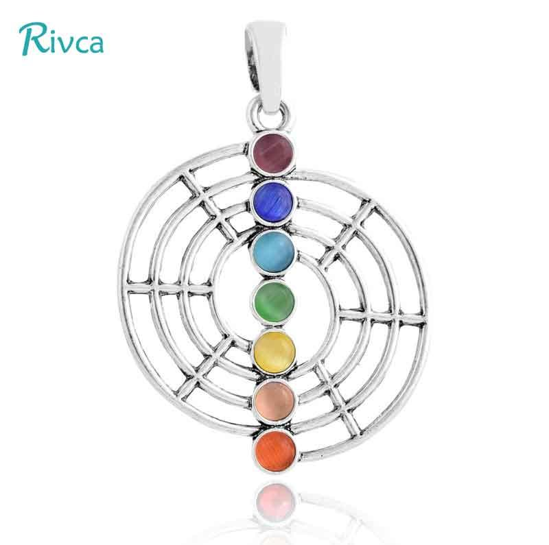 A49 Rivca Natural Crystal 7 Chakra Stone Tree Of Life Pendant Necklace For Women Reiki Symbols Yogo Energy Pendant Amulet