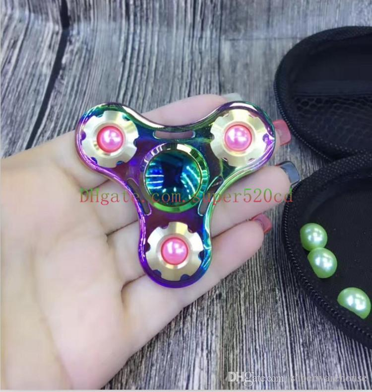 New Colorful pearl new gyro can be replaced pearl UFO original three-leaf colorful finger burst section gyro decompression toys