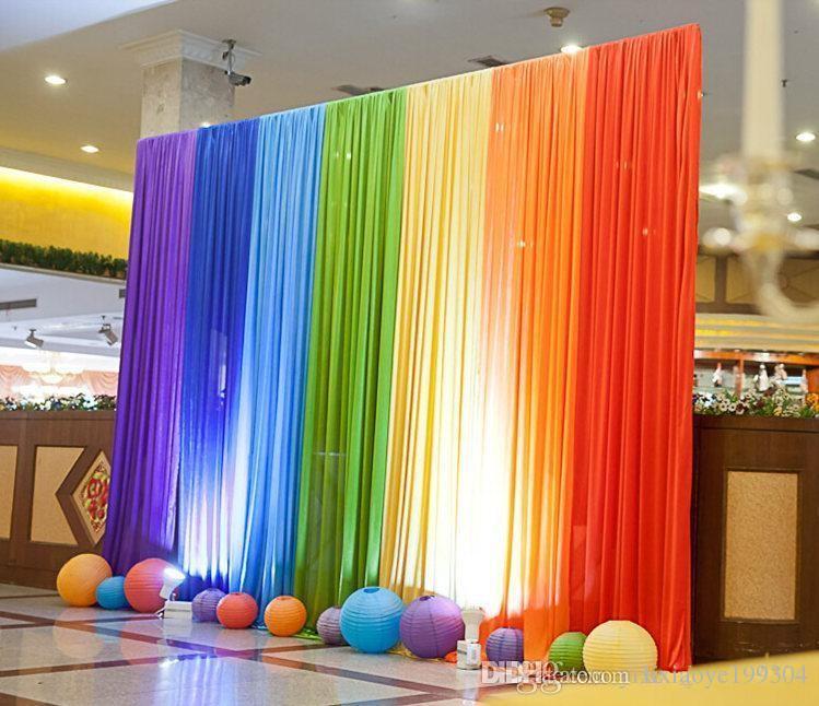 New Ice Silk Rainbow Wedding Backdrop Colourful Wedding Background ...