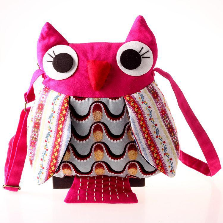 Sacchetto di spalla del gufo delle ragazze Sacchetto del carattere di stoffa Borsa di modo del gufo del bambino in età prescolare fatta a mano 26x23cm