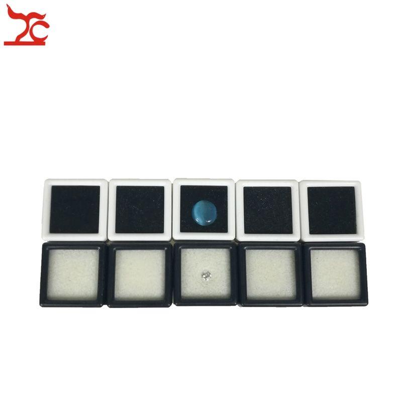 Small Cute Plastic Loose Gemstone Diamond Display Package Box Square White Black Gem Case Memory Foam Pad Beads Pendant Box Showcase 3*3*2cm