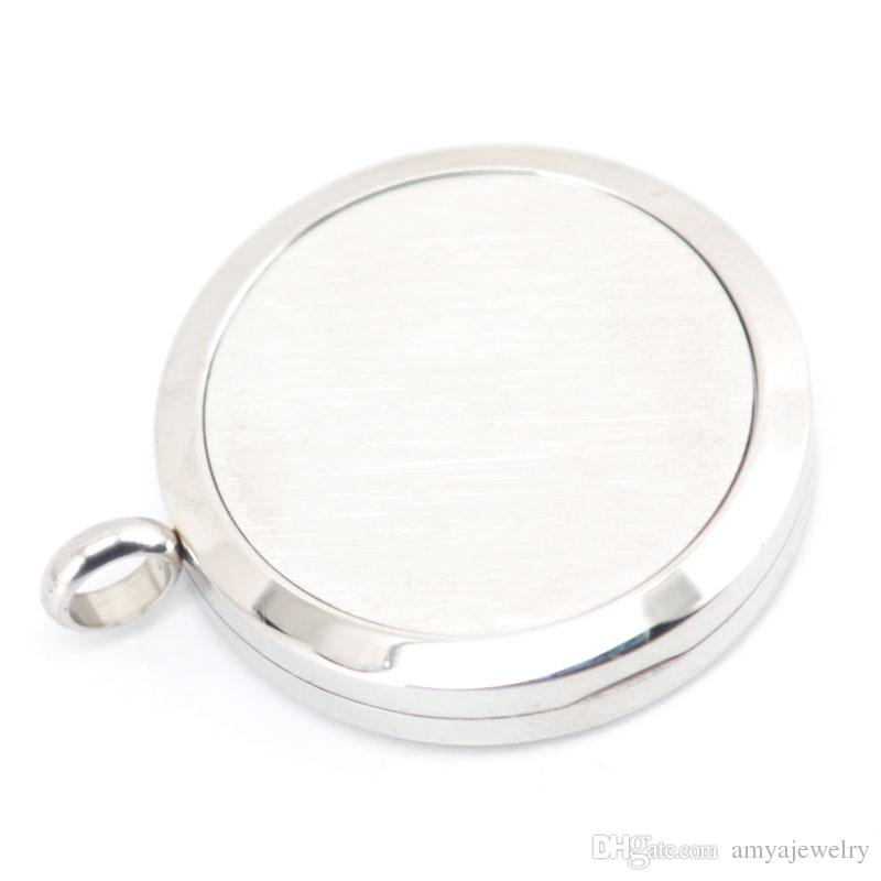 Cock 30mm Aromatherapy Essential Oil surgical Stainless Steel Necklace Pendant Perfume Diffuser Locket with Chain Pads