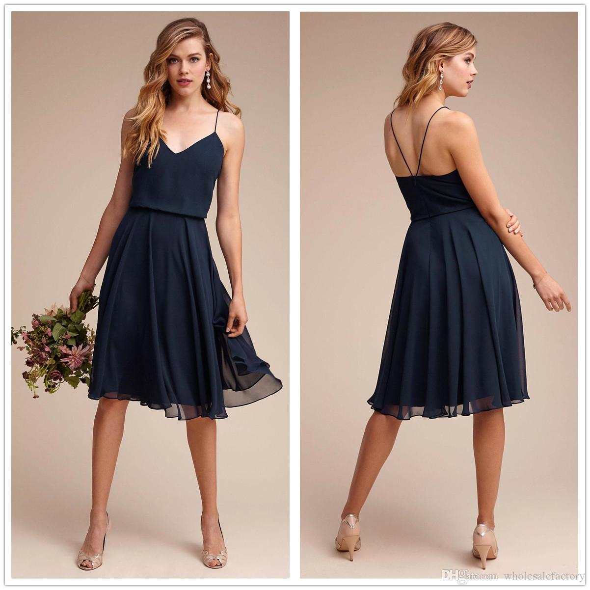 New Spaghetti Straps Chiffon Short Bridesmaid Dresses Ruched Knee ...