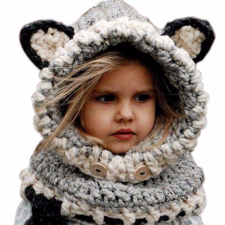 DHL Fashion Winter Warm Neck Wrap Fox Scarf Caps Cute Children Wool Knitted Hats Baby Girls Shawls Hooded Cowl Beanie Caps