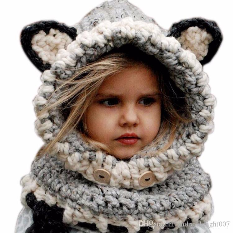 DHL moda inverno caldo collo avvolgere sciarpa volpe cappellini bambini svegli cappelli lavorati a maglia di lana neonate scialli cappuccio con cappuccio cappellino berretto spedizione gratuita