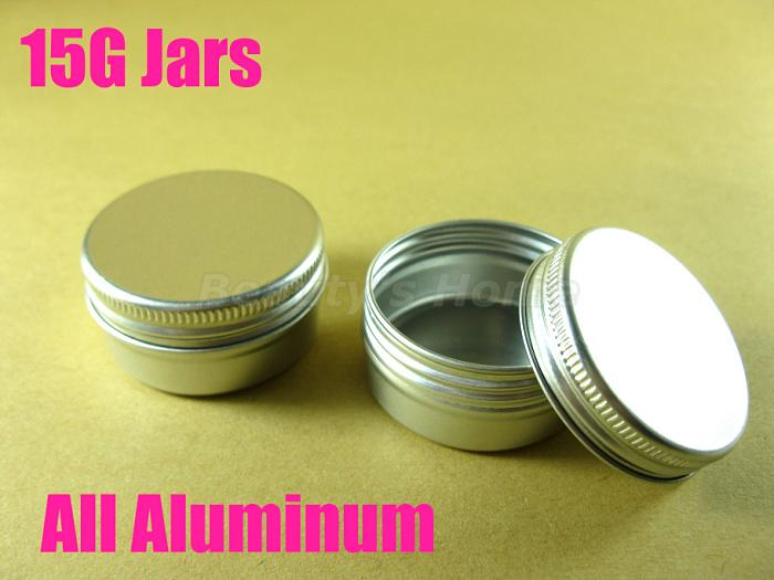 15g all Aluminum jars for cosmetic cream make up cosmetic jar refillable bottle Empty bottle Wholesale free shipping#1947