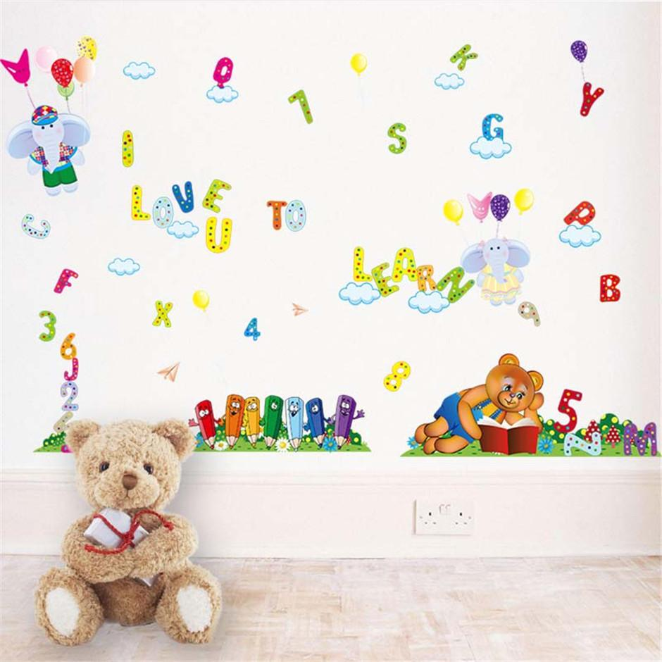 Removable Vinyl Alphabet Numbers Bear Wall Stickers Muraux Hot Sells Wall  Decal Poster Home Decorations Diy Pvc Removable Wallpaper Painting Quote  Wall ... Part 49