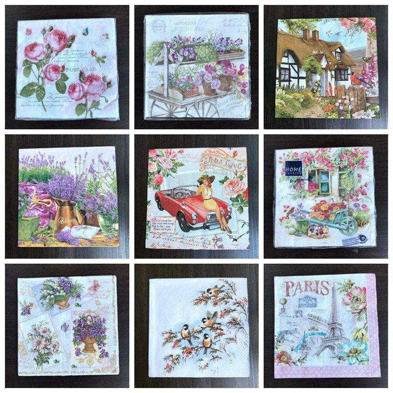 2018 wholesale 2 x flower paper napkins for decoupage 33x33cm 3 ply vintage flower bird napkins eiffel tower lavender napkins from hobarte 3398 dhgate