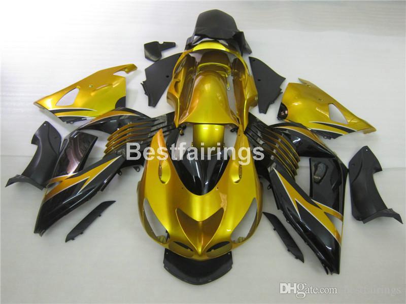 Kit de carénage 7 cadeaux gratuit pour Kawasaki Ninja ZX14R 06 07 08 09 10 11 carénages de moulage par injection or noir ZZR1400 2006-2011 OP17