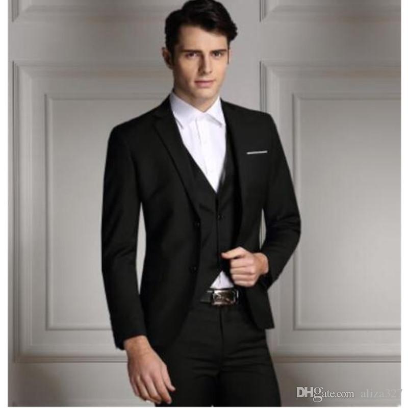 b87dd8b504f Men Formal Suit Mens Business Formal Wedding Dress Suits Set Slim Fit  Overcoat Pants Jacket + Pants + Vest Custom Black Formal Suit Black Mens  Clothing From ...