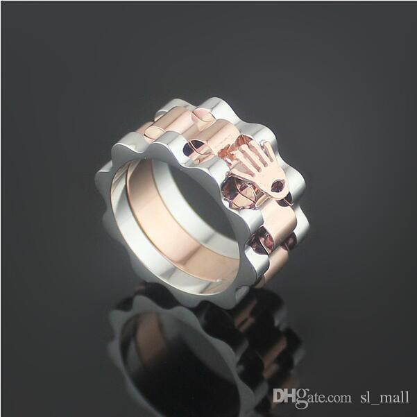 Gear Rings Of Palm Shape Mixed Yellow Gold Rose Or Silver Metal Colors Women Men Wedding Stainless Steel Jewelry Engagement Titanium Ring