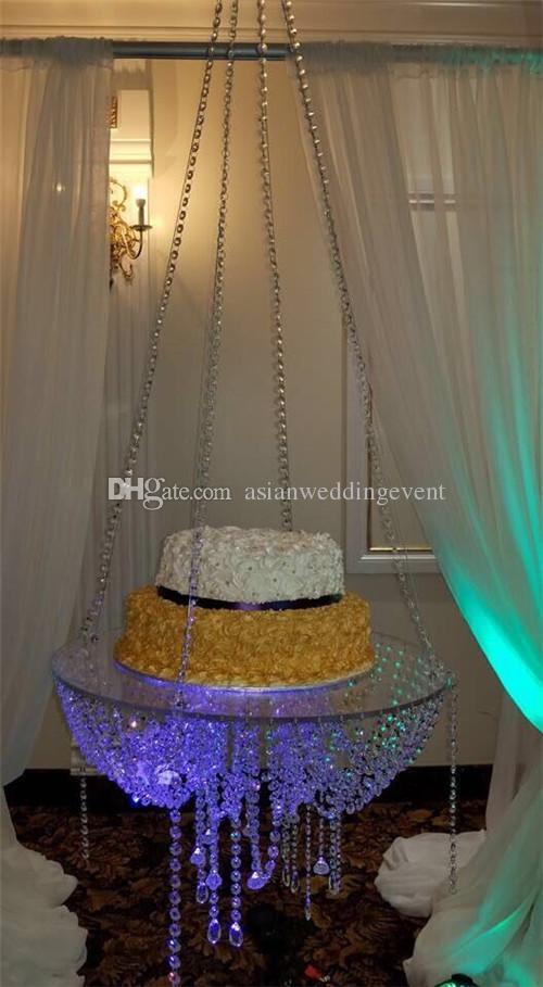 جولة D60 كريستال الوقوف كعكة الثريا شنقا مع الجدول كعكة الكريستال مطرز للزينة الزفاف