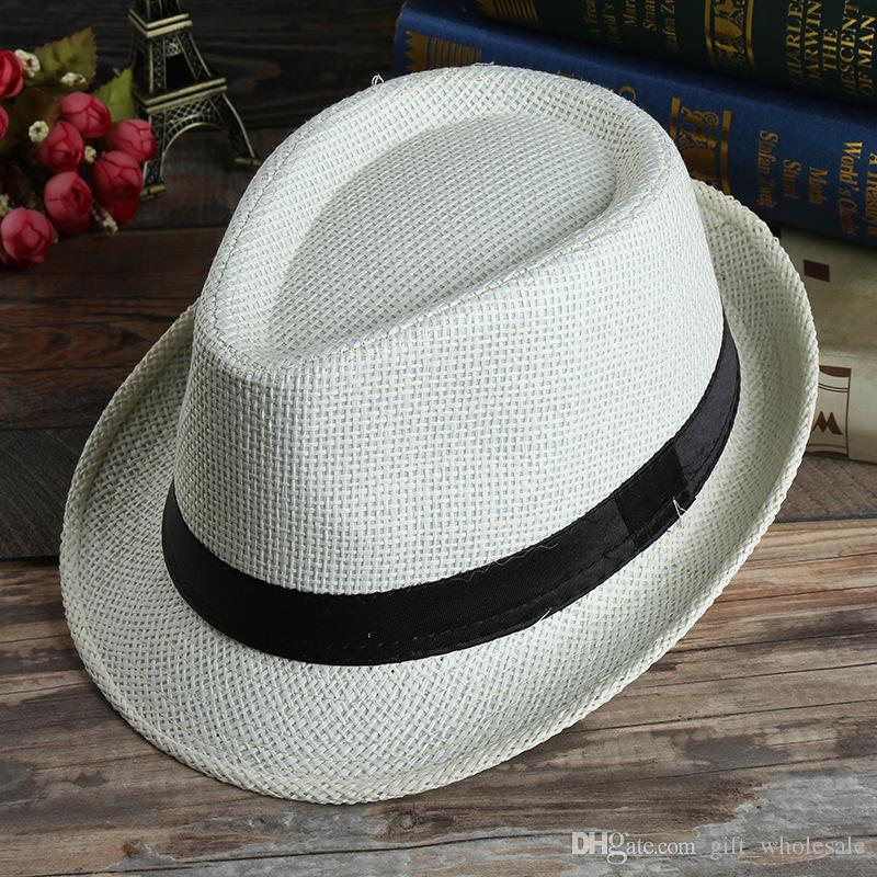 Hommes Femmes Panama Chapeaux De Paille Fedora Avare Bord Chapeaux Doux Vogue Pour Unisexe 7 Couleurs D'Été Soleil Plage Casquettes Linge Jazz